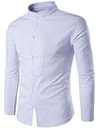 5740e425caffb Hombres Tradicional Chino Ropa Trajes Camisa De Manga Larga Abrigo Kung Fu Camisa  Tops