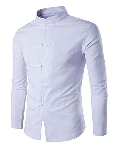 Tang Traje Hombres Tradicional Chino Ropa Trajes Hanfu Algodón Camisa De Manga Larga Abrigo Kung Fu Camisa Tops Blanco XL