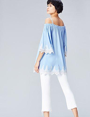 FIND Bluse Damen Schulterfreies Carmen-Oberteil mit Spitze Blau (Blue)