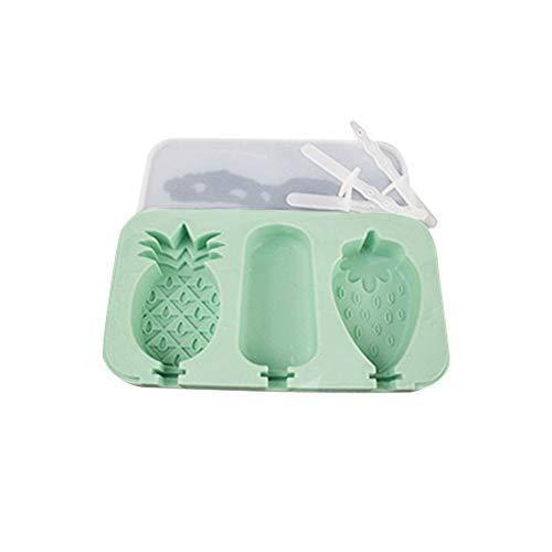 men Set Mit Deckel BPA FREI Silikon 3 Hohlräume Cartoon Kreative Nette Hausgemachte Sorbet Werkzeuge Für Kinder (strawberry pineapple square shape(green)) ()