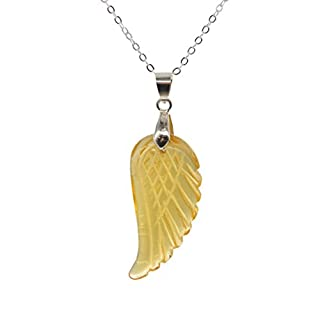 Aituo 1pc Natural Crystal Reiki Wing Pile Gemstone Healing Chakra Pendant Pendulum for Necklace DIY Jewelry Making