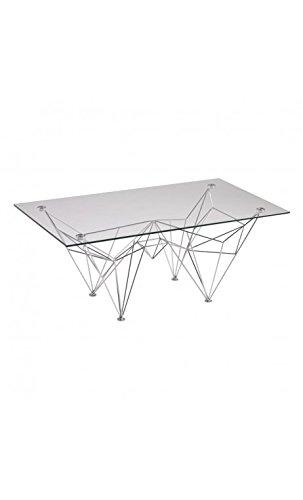 CAMINO A CASA - Table Basse Design Verre et Acier chromé Doggy