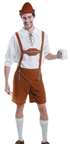 erdbeerloft - Herren Oktoberfest Lederhosen, Kostüm, Karneval, L/XL, Braun-Weiß