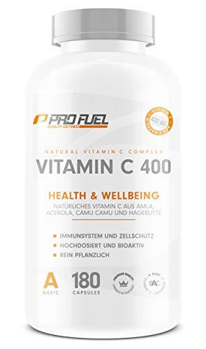 VITAMIN C 400 | Natürliches Vitamin C aus Amla, Acerola, Camu-Camu & Hagebutten | 400mg pro Tagesdosis | 3 Monatsvorrat | 180 vegane Kapseln (180 Kapseln) -