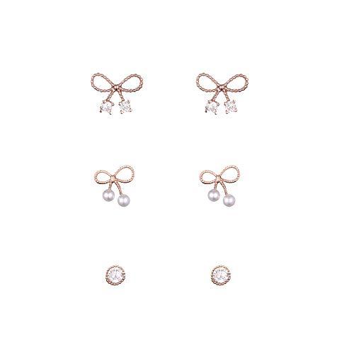 Bogenknoten Kleine Strass 925 Silber 14K Gelbgold Ohrringe Set Schöne Roségold Damen Geschenk Valentinstag ()