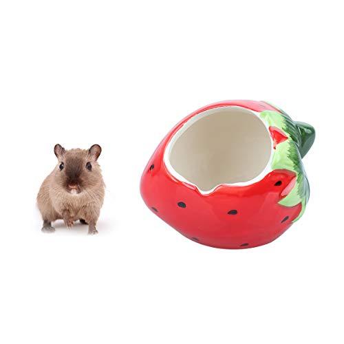 POPETPOP Keramik-Cartoon-Erdbeer-Form Hamster Hideout House-Summer Cooles Kleintier Haustier Nesting Habitat Käfig für Chinchilla Hamster Eichhörnchen Gerbil Syrian Hamster Rat
