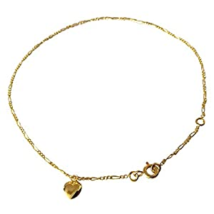 Diamantly-Fußkettchen und Herzen in Gelbgold 750–25cm