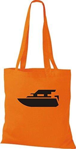 JUTA Tote Bag BARCA MOTORE, YACHT, barca,SKIPPER, CAPITANO Arancione