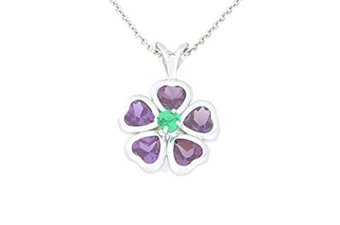 2.5 Ct Created Alexandrite Heart Bezel & Simulated Emerald Pendant .925 Sterling Silver Rhodium