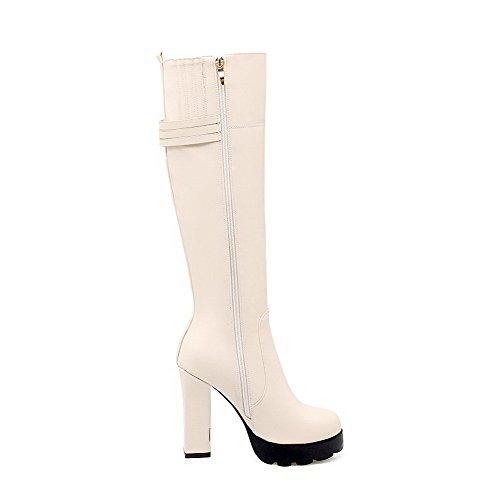 AllhqFashion Damen Rund Zehe Hoher Absatz Weiches Material Stiefel mit Metallisch, Cremefarben, 40