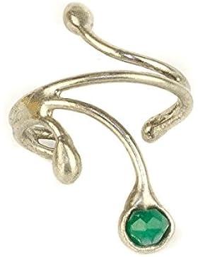 Ohrring Ohrklemme lange Creole Silber mit Aventurin 306S-L für das linke Ohr