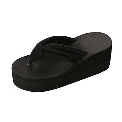 c0108da99 Platform Flip Flops for Womens High Platform Wedge Flip Flops Sandals  Comfortable Outdoor Clip Toe Shoes