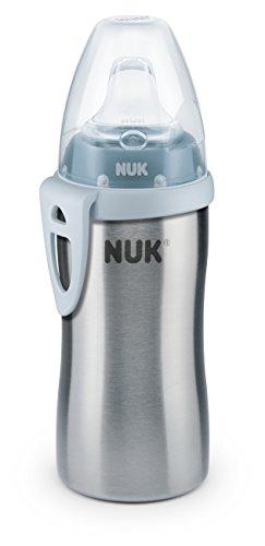 NUK 10255353 Active Cup, Flaschenkörper aus hochwertigem Edelstahl, 1 Stück, 215 ml Inhalt, blau