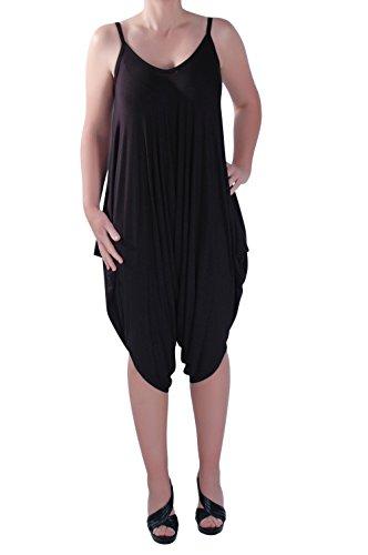 Eye Catch - Dames Lagenlook Bretelles Harem Jumpsuit Robe Pantalons Femmes Tops Combishort Noir