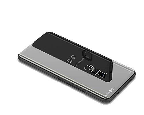 DIFE Luxo Espelho Clear View Flip Case Capa com Kickstand Função para Xiaomi Mi 8 PRO - Preto