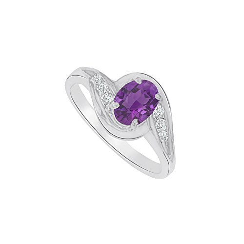 Amethyst and CZ Seven Stones Ring in 14K White Gold