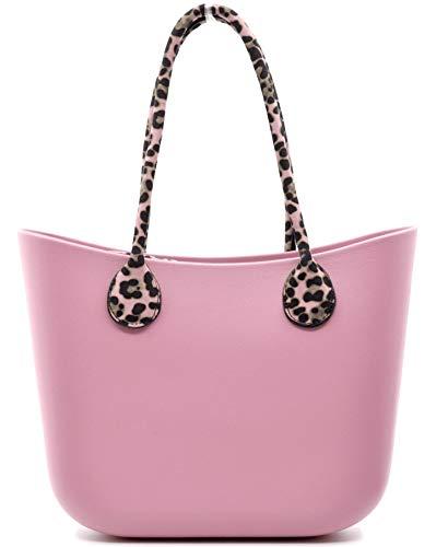 Borsa bag 2019 con manici in corda in regalo leopardata maculata spalla donna fantasia silicone manici sacca scocca completa ricamati smontabile (rosa)