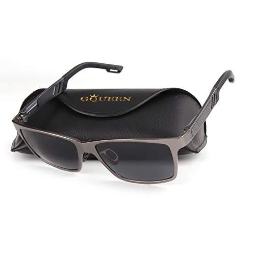 GQUEEN Retro Al-Mg Rahmen für Männer Polarisierte Sonnenbrille UV400 Schutz MS0