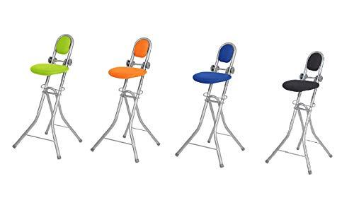 Ribelli Bügelstehhilfe Stehhilfe Stehstuhl 6-Fach höhenverstellbar klappbar Bügelstuhl Stehsitz ergonomisches Sitzen - Stehsitz zum Bügeln mit Rückenlehne (schwarz)