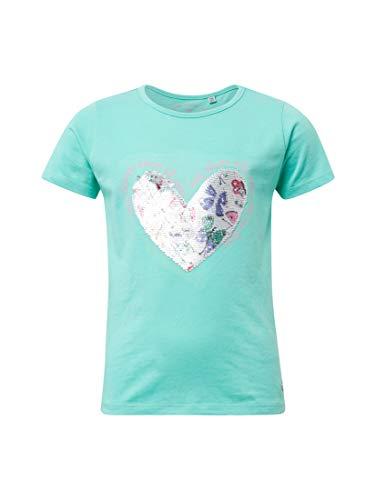 TOM TAILOR für Mädchen T-Shirts/Tops T-Shirt mit Pailletten-Herz Beveled Glass|Green, 92/98 - Herz Bio-kinder-t-shirt