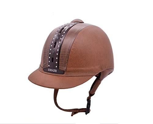TentHome Vintage Horse Riding Hat Helmet Kids Classical Retro Western Equestrian Helmets Leather Rhinestone Decoration (56cm, braun)