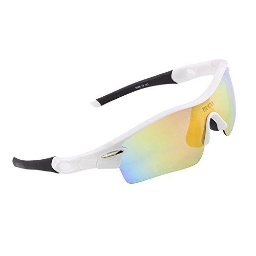 DUCO Polarisierte Sport Sonnenbrille mit 5 auswechselbaren Gläsern UV400 Schutz Sportbrille fürs Radfahren Laufbrille Joggbrille (Weiß)