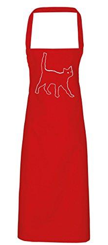 hippowarehouse schwarz Katze Schürze Küche Kochen Malerei DIY Einheitsgröße Erwachsene, rot, (Schwarze Katze Diy Kostüm)