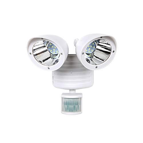Solar Twin Sensor (Moclever 22 LED Solarleuchten, Doppelkopf Bewegung Sensor Solar Sicherheitslicht Super Hell Sicherheit Detektor Wasserdicht Solar PIR Sensor Lampe für Garten Yard Garage Terrasse Auffahrt (Weiß))