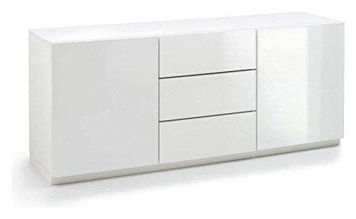 Madia 3 vani doppia anta e 3 cassetti Bianco laccato lucido cm 180x48x48 collezione giorno Marina