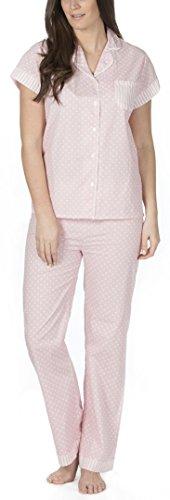 donna / donna intrecciato 100% cotone corto Pigiama / Set pigiama Pink Spot Full Length