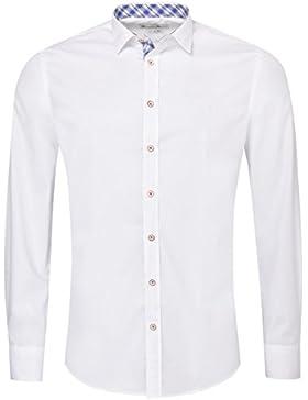 Gweih & Silk Trachtenhemd Body Fit friedl Zweifarbig in Weiß und Blau