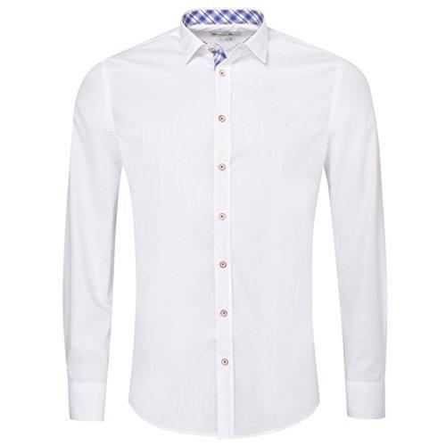 Gweih & Silk Trachtenhemd Body Fit friedl Zweifarbig in Weiß und Blau von, Größe:XL, Farbe:Weiß