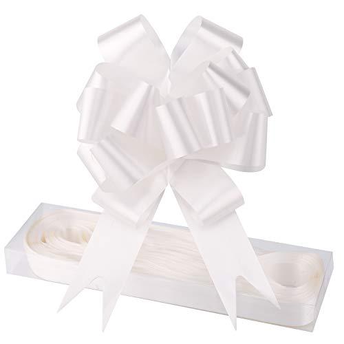 WXJ13 - Lote de 30 lazos de satén de color blanco para envolver regalos, arreglos florales, cestas, coches de boda, decoraciones de fiesta