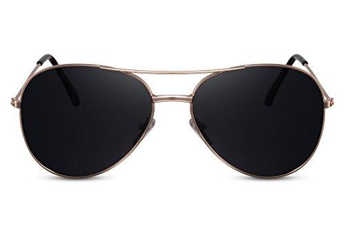 Cheapass Sonnenbrille Gold Grau Piloten-Brille UV-400 Fliegerbrille Designer-Brille Exklusiv Top-Gun Metall Damen Herren