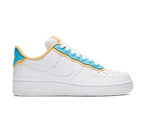 Nike Damen WMNS Air Force 1 '07 Se Basketballschuhe, Mehrfarbig White/Lt Blue Fury/Topaz Gold 105, 38.5 EU (Fury Net)
