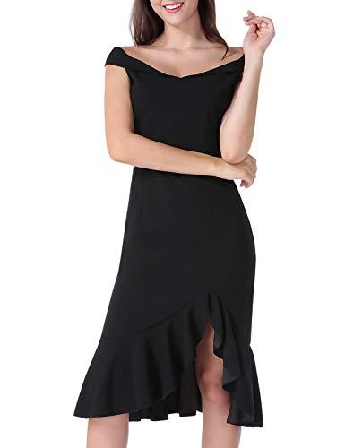 Ärmellos Rüschen V-ausschnitt Kleid (ANGGREK Damen Kleider Schulterfrei Ärmellos Partykleid Abendkleid V-Ausschnitt Cocktail Bleistiftkleid mit Rüsche Fishtail)
