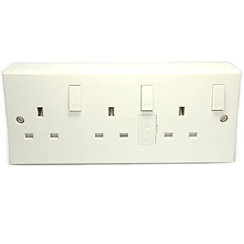 kenable 3 Gang Wall Sockets With Individual Switches And Back