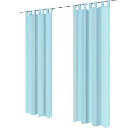 Lot de 2 gräfenstayn® venezia - rideau monochrome transparent en voile - nombreux coloris attrayants - dimensions (longueur x largeur) : 245x140cm chacun (bleu clair)