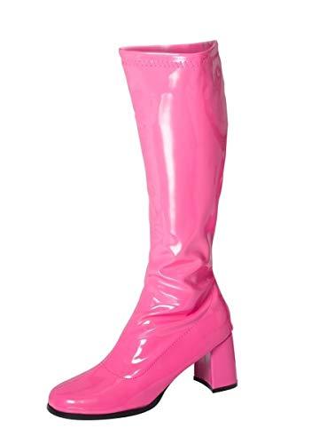 Damen-GoGo-Stiefel, 1960er/70er-Retro-Look, Größe EU 36-47,5, Pink - fuchsia - Größe: 38 EU
