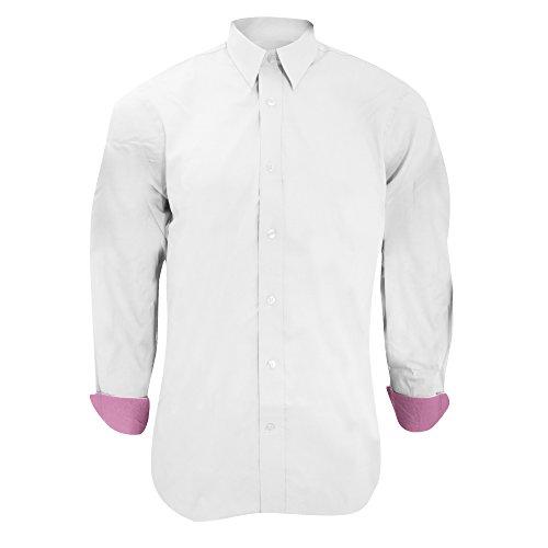 Kustom Kit Contrast Premium Oxford Herren Hemd, Langarm Hellblau/Dunkelblau