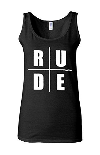 Rude Funny Novelty Novelty White Femme Women Tricot de Corps Tank Top Vest *Noir