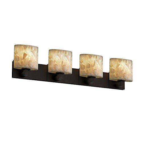 Justice Design Group Alabaster Rocks! 4-Light Bath Bar - Dark Bronze Finish with Shaved Alabaster Rocks Cast Into Resin Shade by Justice Design Group Lighting -