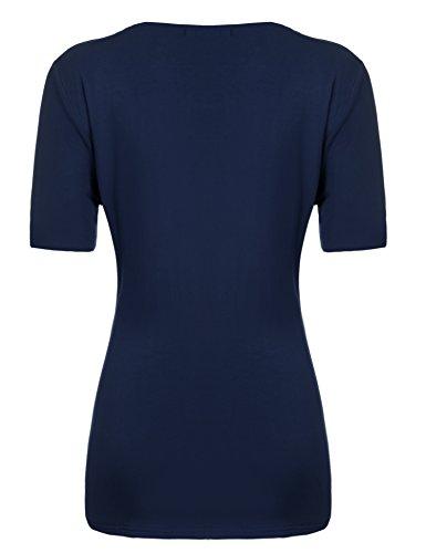 Zeagoo Damen Sexy V-Ausschnitt Kurzarm Tunika Blusen Oberteile Shirt mit Rüschen B-Marine