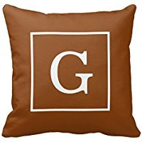 Chocolate Brown White Framed Initial Monogram Pillow Case -