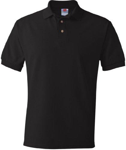 Hanes Herren Baumwolle Poly Welt Kragen und Manschetten Short Sleeve Pique Polo Shirt Schwarz