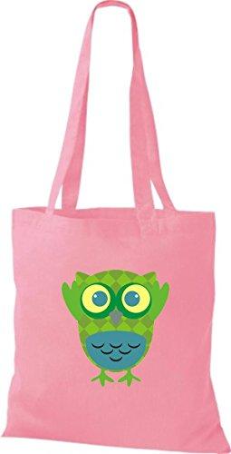 ShirtInStyle Jute Stoffbeutel Bunte Eule niedliche Tragetasche mit Punkte Karos streifen Owl Retro diverse Farbe, blau rosa