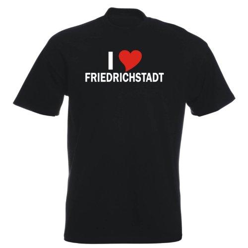 T-Shirt mit Städtenamen - i Love Friedrichstadt - Herren - unisex Schwarz
