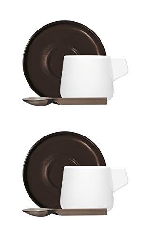 Vice Versa 46204 Lot de 2 Tasses à café avec cuillère, Porcelaine, Noir, 2 unités
