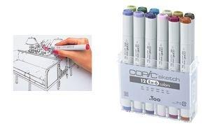 COPIC ProfiPinselmarker sketch, 12er Set EX6 4511338053041 - Ash Media Storage