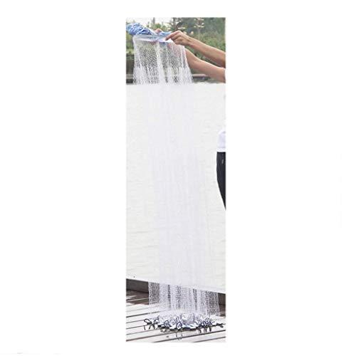 Hand Wurfnetz Hand einfach zu werfen Spinning Angeln Reifen Linie Aluminiumring Aluminiumring Nylon Draht 2,4 m Zink Anhänger (Größe: 2,4 m Zink Anhänger) (Angeln-hand-linie)